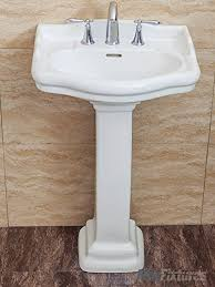 white pedestal sink.  Pedestal Fine Fixtures Roosevelt White Pedestal Sink  22 Inch Vitreous China  Ceramic Material 8 And M