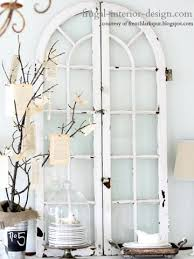 window pane wall decor ideas arched shutter style windows stands on a buffet table