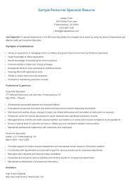 Personnel Specialist Job Description Sample Personnel Specialist Resume Resame Resume