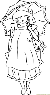 Small Picture Holly Hobbie with Umbrella Coloring Page Free Holly Hobbie