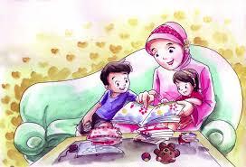 Hasil gambar untuk gambar ibu membacakan dongeng