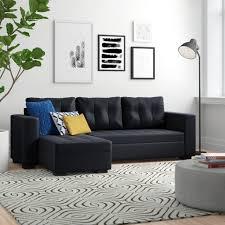 gustavo black pu leather corner sofa bed