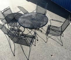 mesh patio table round metal