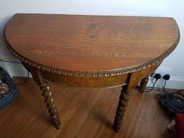 antique vintage solid wood semi circle circular wooden table hallway table console