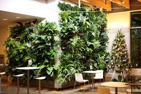 indoor green wall with artificial led lighting