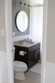 Vanity lighting bathroom Pendant Just Few Small Tweaks Completely Updated This Bathroom Space Love The Diy Shiplap Dark Gray Walls And Round Mirror Enricoahrenscom Bathroom Makeover With Bold Paint Vanity Lights Bloggers Best