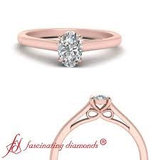 Oval Shaped Diamond Ring Design Details About Bow Design Oval Shaped Diamond Solitaire Engagement Ring In Rose Gold 0 90 Ctw
