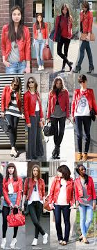 inspiration how to wear red leather jacket