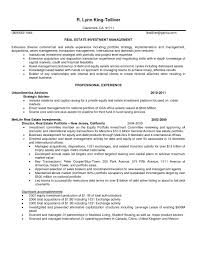 Real Estate Investment Resume Sample Sidemcicek Com