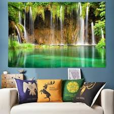 tapestries forest waterfall wall