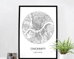 Small Picture Cincinnati map Etsy