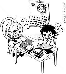 少年と少女が必死に夏休みの宿題に取り組んでいるのイラスト素材
