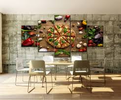 Pizza Shop Interior Design Us 3 63 47 Off 5 Piece Food Painting Pizza And Edible Vegetables Restaurant And Pizza Shop Wall Decorative Delicious Poster Canvas Print Type In