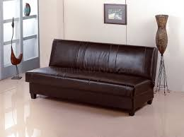 deep brown faux leather contemporary convertible sofa