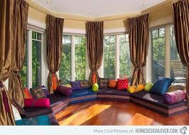 Moroccan Room Decor for Terrace and Porch : Moroccan Room Decor Girly Living  Room Stripes Cushions Red Rug Cream Pad Orange Curtain Magenta .