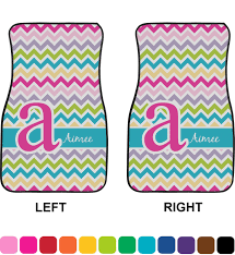chevron car floor mats. Colorful Chevron Car Floor Mats (Front Seat) (Personalized)