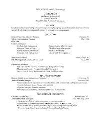 Resume Sample Mba Application