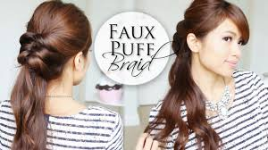 Easy Hair Style For Girl easy 5 min hairstyle faux puff braid youtube 6838 by wearticles.com