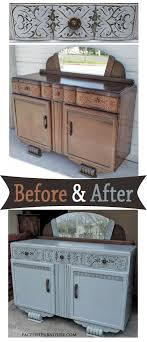 distressed grey english buffet before after