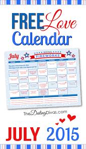 Free Printable July 2015 Love Calendar