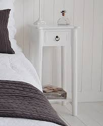 tall white new england bedside table with drawer and shelf