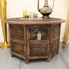 large round coffee table brown solid wooden hand carved indian inside indian coffee tables photo