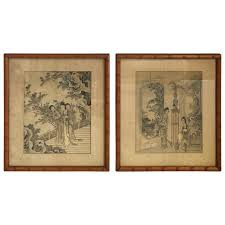 1930s asian women in ornate scenery prints with faux bamboo frames