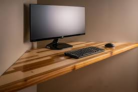 floating pine and cedar corner desk