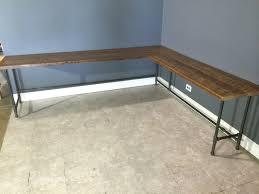 long reclaimed wood l shaped desk