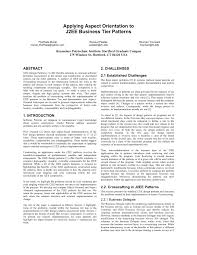 J2ee Design Patterns Applied Pdf Pdf Applying Aspect Orientation To J2ee Business Tier Patterns