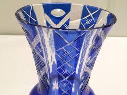 vintage cobalt blue cut glass vase photo 2