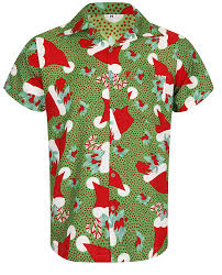 Christmas Hawaiian Shirt Santa Hat Xmas Mistletoe Tree Sugar Cane ...