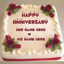 Happy Anniversary Sweet Red Rose Cake With Couple Name Birthday