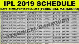 Ipl 2019 Schedule Ipl 2019 Date Time And Venus Full List