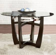 glass dnng table round top tempered wood chrome metal