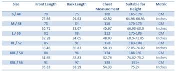 Size Chart Bajunba
