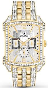 bulova swarovski crystal gold tone men s watch 98c109 watchtag com bulova swarovski crystal gold tone men s watch 98c109