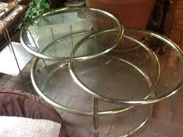 vtg hollywood regency tier round swivel glass coffee table mid
