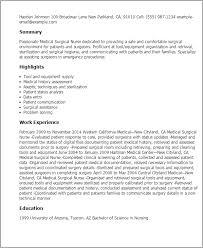 Medical Surgical Nursing Resume Under Fontanacountryinn Com