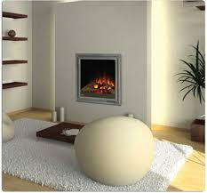 modern electric fireplace insert with silver frame in wooden floor plus charming white carpet for home