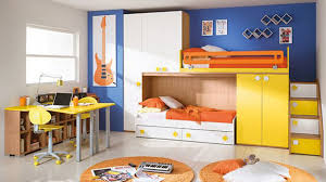 space saving furniture bed. contemporary kids bedroom with blue wall paint color and space saving bunk bed white furniture