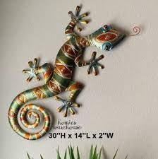 large gecko lizard wall art metal