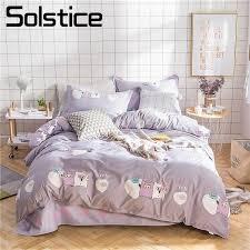 solstice home textile king queen single double bedding sets kid teen boy girls bedinen gray pig
