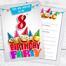 8th Birthday Party Invitations 8th Birthday Party Invites Emoji Style Ready To Write With
