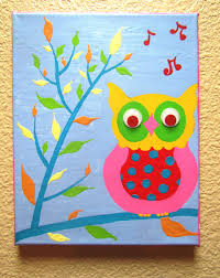 kids canvas painting wise owlhand painted acrylic painting on canvas for kids templates