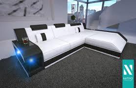Wohnlandschaft Ledermix Sofa Matis Mini Mit Led Beleuchtung Nativo Ecksofa Sofa