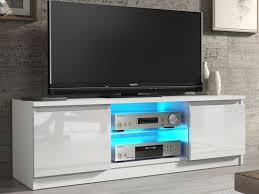 tv cabinet unit with led glass shelf white high gloss top e gloss rtv120whiteglossled