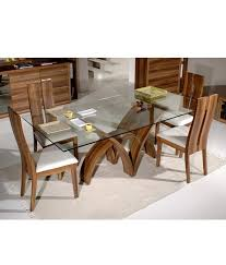 dream furniture teak wood 6 seater luxury rectangle glass top dining table set brown
