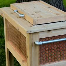 hand made wooden patio cooler made