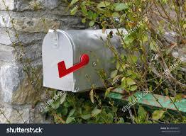 closed mailbox. Metallic Closed Mailbox With Red Indicator